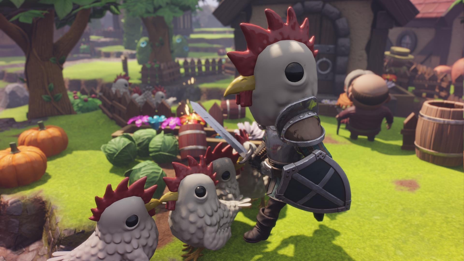 Kun sankarilla on kanamaski päässä, kotkottajat suhtautuvat ystävällisesti.