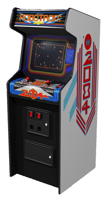 Robotronin karkkiväreissä hehkuva grafiikka pääsee oikeuksiinsa vasta pelihallin hämärässä.